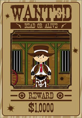 Het Wilde Poster van de Wilde Westen van het Beeldverhaal van het beeldverhaal