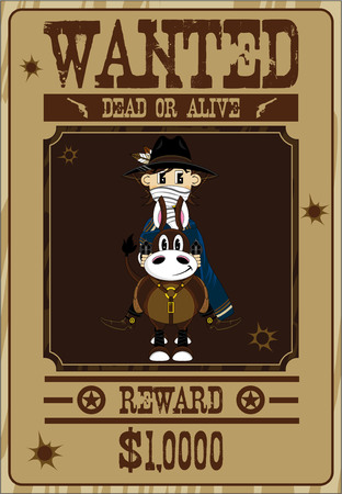 Cartoon Wild West Cowboy Wanted Poster Illustration