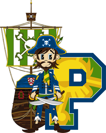 P is for Pirate Illustration