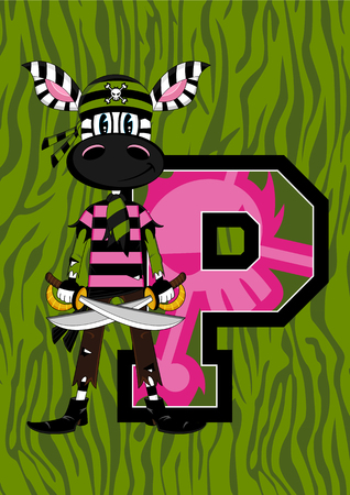 P is for Pirate Zebra Illustration