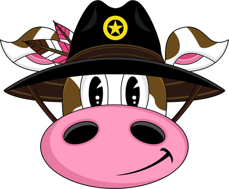 Cute Cartoon Cow Cowboy