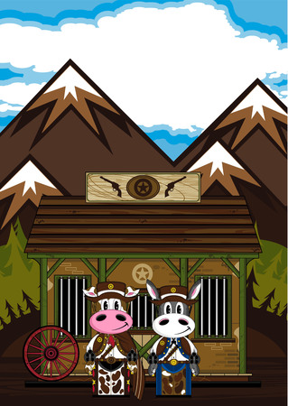 Wild West Donkey & Cow Cowboy Illustration