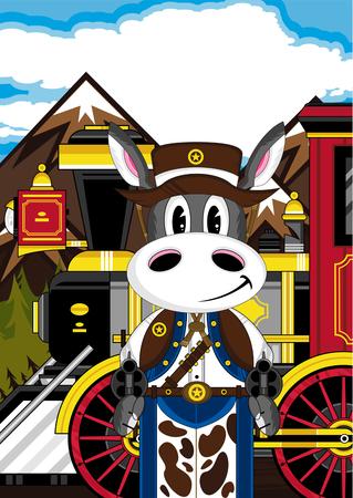 Donkey Cowboy with Train