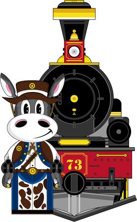 기차가있는 당나귀 카우보이