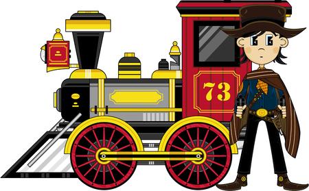 만화 카우보이와 증기 기차.