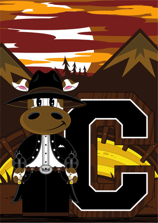 C is for Cowboy - Cow Illustration