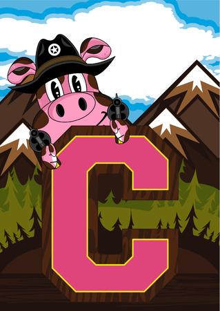 C is for Cowboy - Pig Illustration
