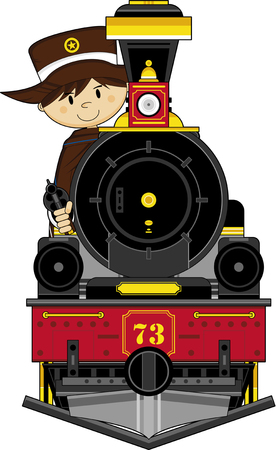 Wild West Cowboy and Steam Train Illustration