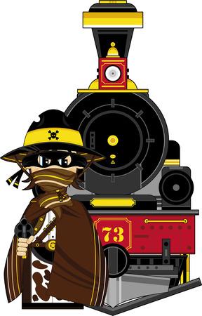 Wild West Cowboy and Steam Train Illustration