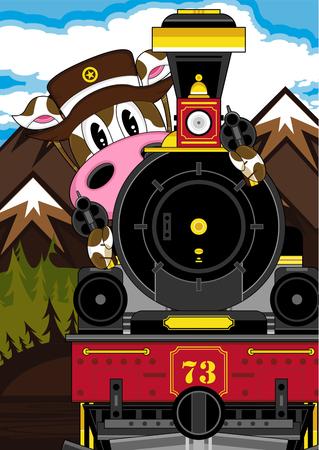 Wild West Cow Cowboy and Steam Train