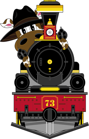 Cow Cowboy and Steam Train Illustration