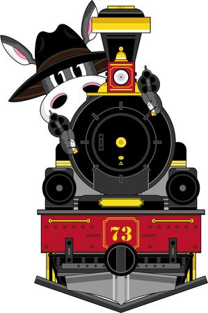 Donkey Cowboy and Vintage Train. Banco de Imagens - 81623380