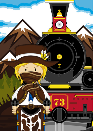 Wild West Cowboy and Vintage Train.