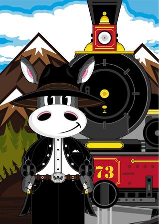 Donkey Cowboy and Vintage Train. Illustration