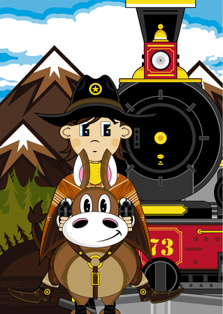 Cowboy on Horse with Vintage Train Illustration