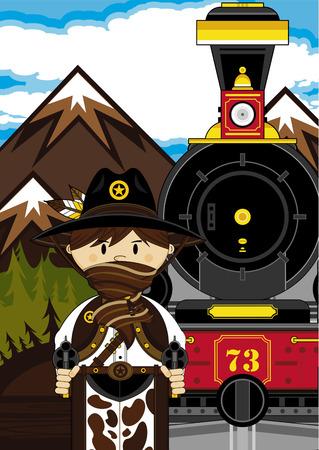 Wild West Cowboy and Vintage Train