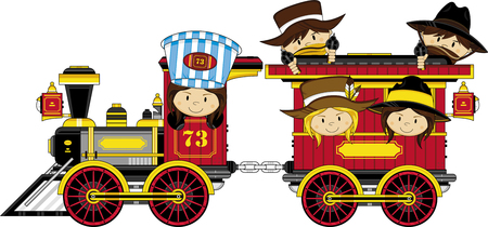 Wild West Cowboys on Steam Train