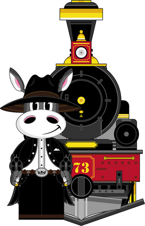 Donkey Cowboy and Steam Train Banco de Imagens - 81624499