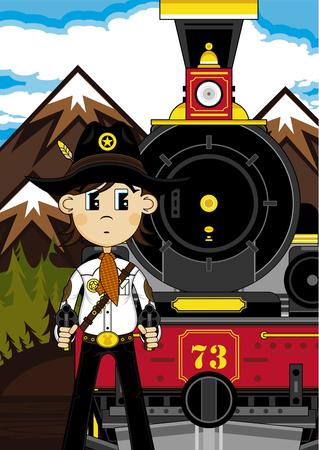 Cartoon Cowboy and Steam Train