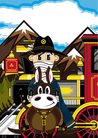 Cowboy on Horse by Steam Train Banco de Imagens - 81623388