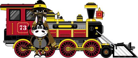 Cowboy on Horse by Steam Train Illustration