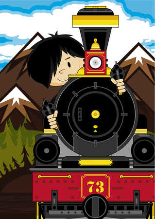 Cartoon Cowboy and Steam Train
