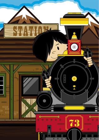 만화 카우보이와 증기 기차