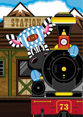 Cartoon Zebra Driving Steam Train Illustration