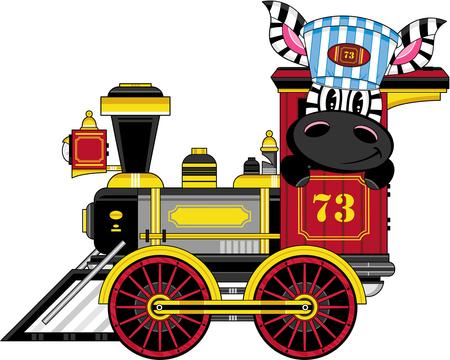 Cartoon Zebra Driving Steam Train Illustration