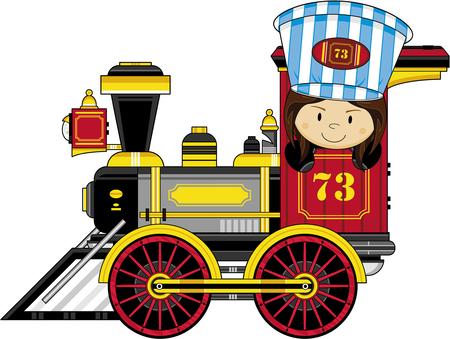 Cartoon meisje drijvende stoomtrein