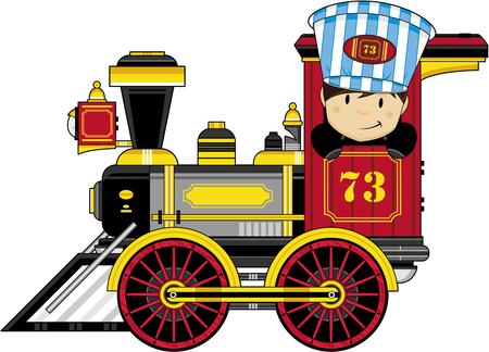 Dibujos animados Kid Driving Steam Train.
