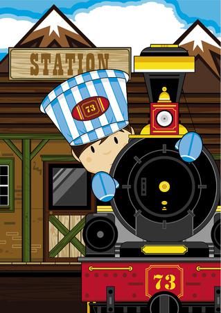 Cartoon Boy Driving Steam Train
