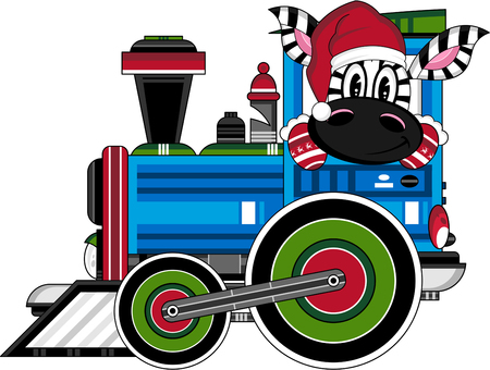 Christmas Zebra in Steam Train