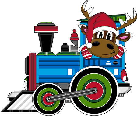 Christmas Reindeer in Steam Train Illustration