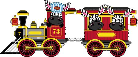 Cartoon Zebras in Train
