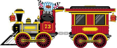 Cartoon Zebra in Train