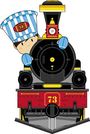 Cute Cartoon Train and Driver