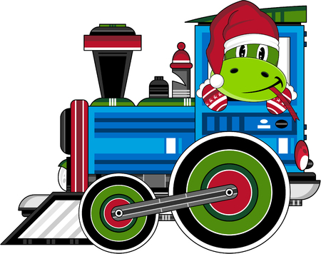 mitten: Santa Hat Snake Driving Train Illustration