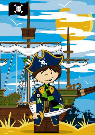 Cartoon Pirate and Ship