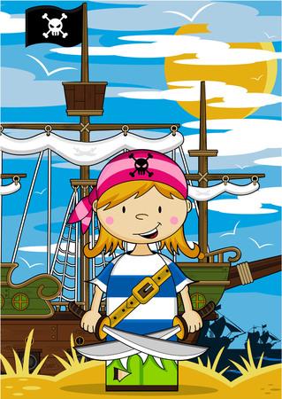 漫画の海賊と船  イラスト・ベクター素材