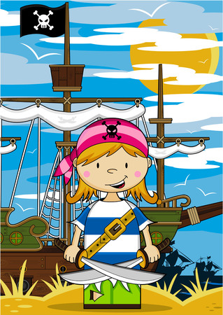 Cartoon Pirate and Ship