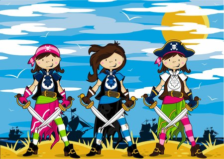 Cartoon Pirate Girls