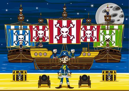 Cartoon Pirates and Pirate Ship