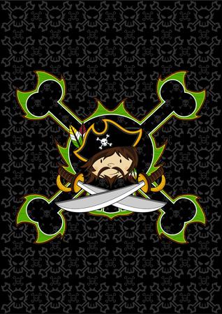 Cute Cartoon Pirate Captain