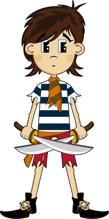 Cute Cartoon Pirate Ilustração