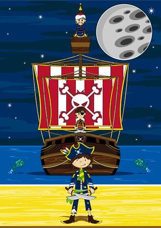 piracy: Cartoon Pirates and Pirate Ship