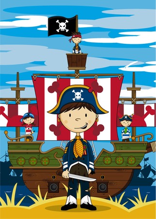 Cartoon Pirate Captain and Ship 向量圖像