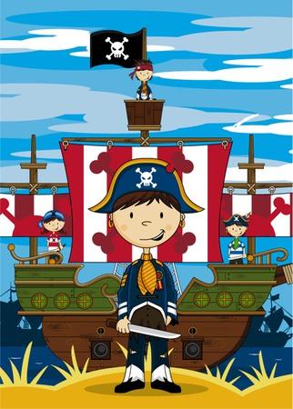Cartoon Pirate Captain and Ship Illustration