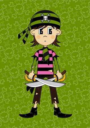 Cartoon Bandana Pirate Girl 向量圖像