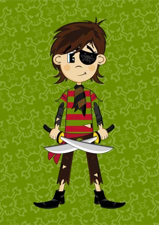 Cartoon Eyepatch Pirate Girl
